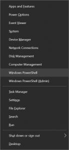 Windows 10 Quick Link menu: Windows PowerShell