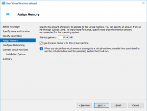 New Virtual Machine Wizard: Assign Memory