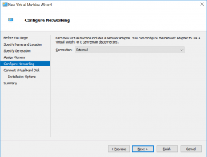New Virtual Machine Wizard: Configure Networking