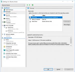 Settings for Ubuntu Server: Firmware