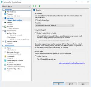 Settings for Ubuntu Server: Security