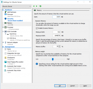 Settings for Ubuntu Server: Memory