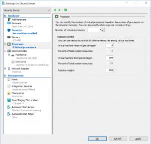 Settings for Ubuntu Server: Processor
