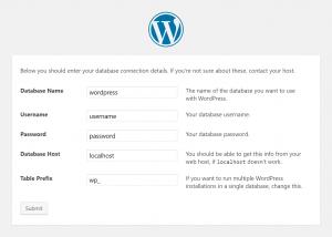 WordPress Setup: Database Connection Details