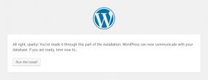 WordPress Setup: Run the install
