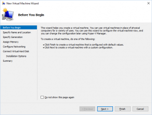 Hyper-V Manager - New Virtual Machine Wizard - Before You Begin