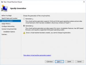 Hyper-V Manager - New Virtual Machine Wizard: Specify Generation