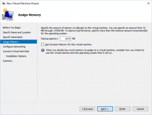Hyper-V Manager - New Virtual Machine Wizard: Assign Memory