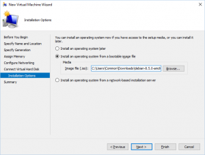 Hyper-V Manager - New Virtual Machine Wizard: Installation Options