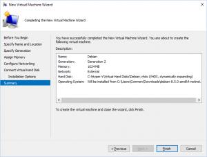 Hyper-V Manager - New Virtual Machine Wizard: Summary
