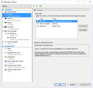 Hyper-V Manager - Settings for Debian - Firmware: Boot from DVD Drive