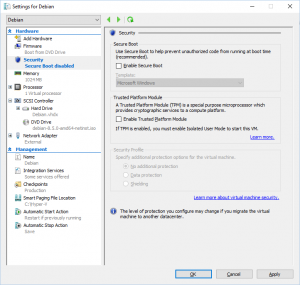 Hyper-V Manager - Settings for Debian - Security: Secure Boot disabled
