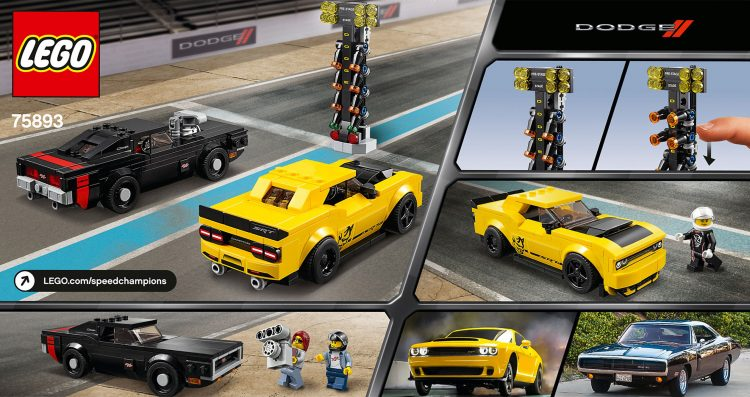 LEGO Speed Champions 75893 2018 Dodge Challenger SRT Demon and 1970 Dodge Charger RT (Box Rear)